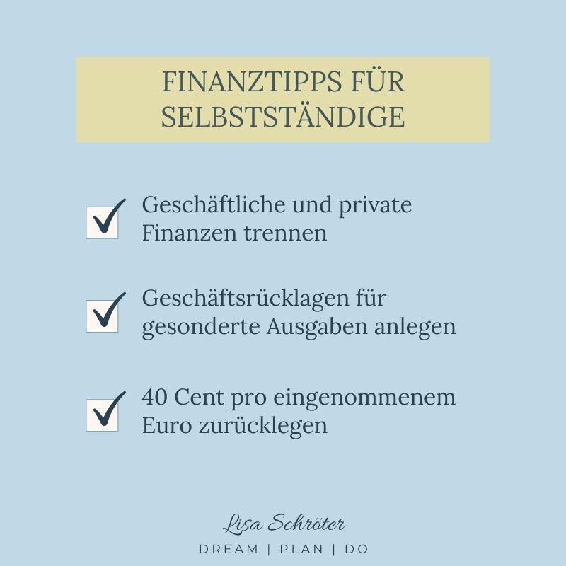 Meine 3 Finanztipps für Selbstständige